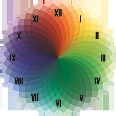 TenStickers. Bunte Uhr Sticker. Eine tolle farbenfrohe, originelle Wandtattoo Uhr, mit der Sie Ihr Zuhause total schön dekorieren können. Günstige Personalisierung