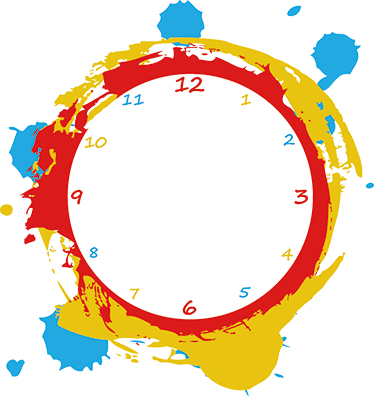 TenStickers. Paint! Clock Sticker. Wall Clock - Original, colourful and modern design. Simple and distinctive, ideal for decorating your home and adding colour to any room.