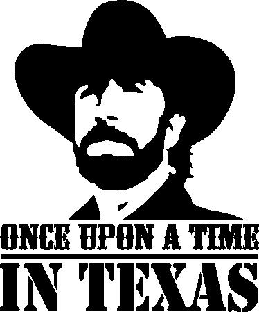 """TenVinilo. Adhesivo once upon a time in Texas. Espectacular vinilo con el imponente perfil del personaje Walker Texas Ranger interpretado por Chuck Norris.Vinilo para cinéfilos y seriófilos freakies con el estilo de los clásicos del Western y la leyenda en inglés """"érase una vez en Texas""""."""