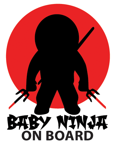 TenStickers. Baby Ninja On Board Car Sticker. Baby Ninja Car Sticker- If there is a little samurai travelling with you in your vehicle then you will need this fantastic baby car sticker. This baby on board sticker design was inspire by Japanese ninjas.