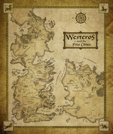 TenStickers. Sticker carte Westeros. Fan de la série Game of Thrones ?  Décorez l'espace de votre choix avec ce plan détaillé des lieux emblématiques de la série