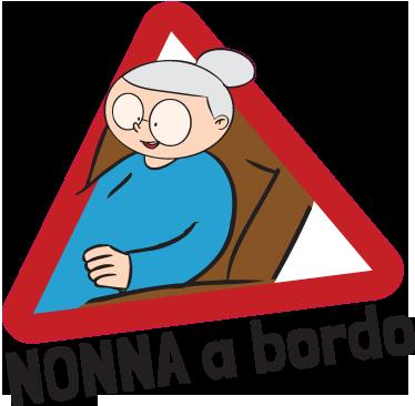 TenStickers. Sticker decorativo nonna a bordo. Adesivo decorativo con il quale potrai far sapere a tutti che in macchina viaggia una persona di una certa età, in questo caso la nonna.