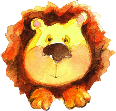 TenStickers. Kids Watercolour Lion Wall Sticker. Kids Wall Stickers - Illustration by artist Lol Malone of an adorable lion suitable for children. Exclusive Tensticker design.