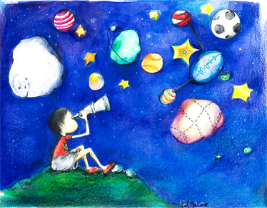 TenStickers. Kids Starry Sky Illustration Wall Mural. Kids Wall Stickers - Illustration by graphic artist Lol Malone. Young boy looking into the blue night sky filled with planets, clouds and stars. A distinctive feature ideal for young space explorers. Available in all sizes.