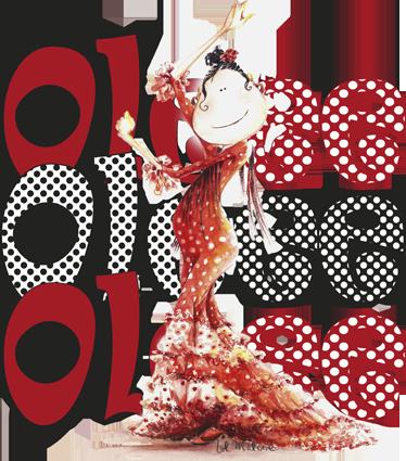 TenVinilo. Vinilo infantil ole ole ole. Vinilo decorativo con una ilustración de una entregada bailaora de flamenco. Dibujo realizado por la ilustradora Lol Malone exclusivo para Tenvinilo.