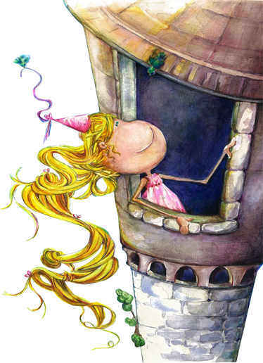 TenStickers. Kids Rapunzel Wall Sticker. Kids Wall Stickers - Original drawn illustration by Lol Malone based on the German fairy tale of Rapunzel. Available in various sizes.