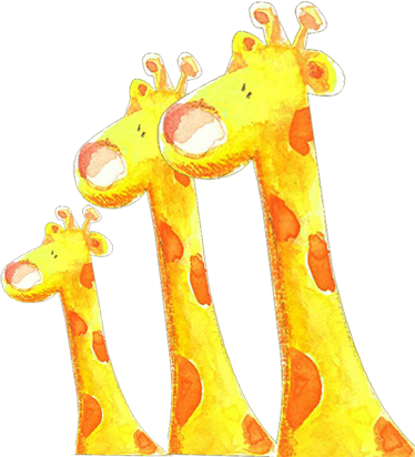 TenStickers. Kids Three Giraffes Wall Sticker. An illustration of three fluffy giraffes to decorate your children's bedroom. A splendid giraffe wall sticker for the little ones.