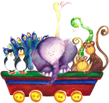 TenStickers. Kids Animal Cart Wall Sticker. Kids Wall Sticker- Watercolour illustration of a cart filled with animals including penguins, monkeys, a snake, elephant and more.