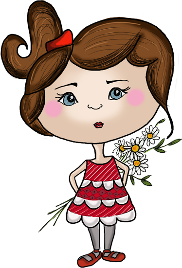 TenStickers. Little Girl Hiding Flowers Sticker. Sticker of a cute little girl holding a bunch of flowers behind her back. Original illustration by Apatino Art.