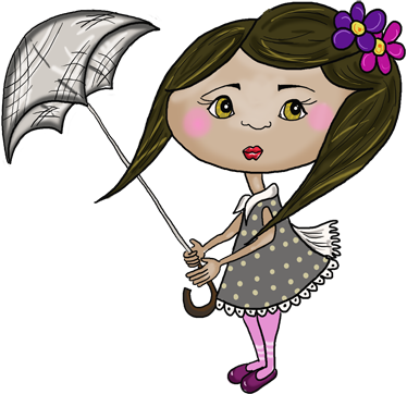 TenStickers. Kids Girl With Umbrella Sticker. Original sticker with an illustration of a cute girl holding her umbrella as the wind blows.