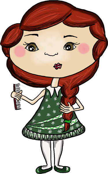 TenStickers. Redhead Doll Sticker. Illustration of a young girl combing and preening her long red hair. A delicate drawing by the illustrators of Apatino Art.