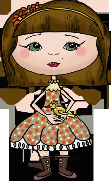 TenStickers. Sticker enfant poupée robe oiseau. Un sticker coloré et raffiné pour décorer la chambre de votre enfant. Une petite fille vêtue d'une élégante robe porte dans ses mains un oiseau, un dessin imaginé par Apatino Art en exclusivité pour tenstickers.fr.