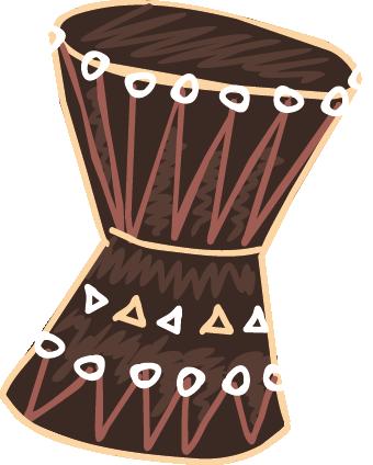 TenStickers. Adesivo de parede tambor africano. Adesivos de parede - desenho ilustração de um tambor africano. Ideal para decorar qualquer ambiente.