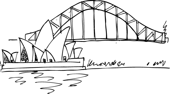 TenStickers. Sydney Opera House Wall Sticker. Room Sticker - An illustration of the Sydney Opera House and Harbour Bridge.Decals ideal for decorating your home.