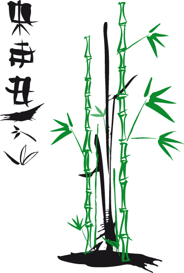 TenVinilo. Vinilo decorativo bambú y letra oriental. Vinilos orientales de una caña de bambú sintetizada con un breve texto en chino te encantará.
