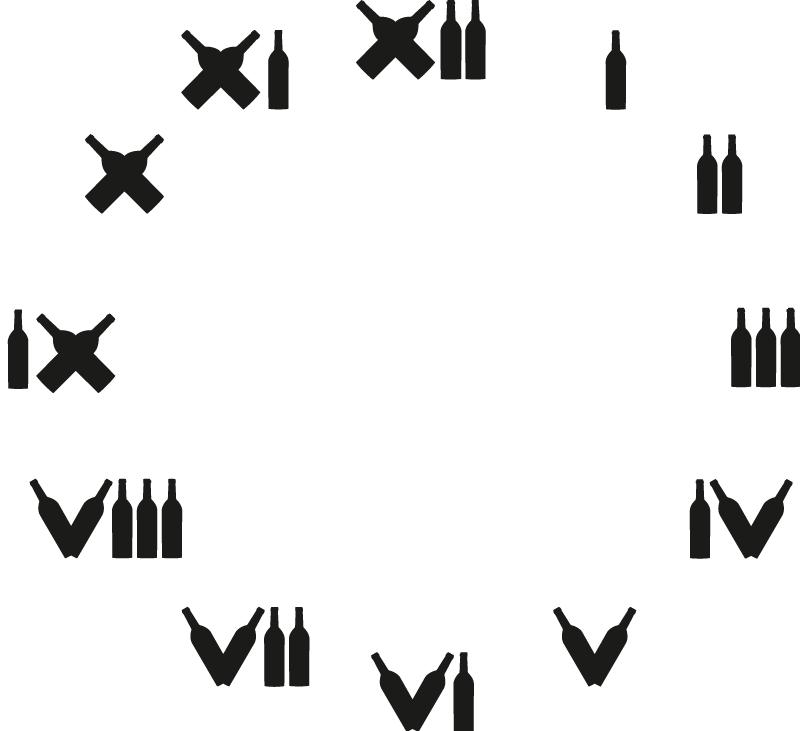 TenStickers. Autocolante decorativo relógio de parede. Decore a sua cozinha ou sala com este autocolante decorativo ilustrando um relógio de parede com numeração romana em forma de garrafas de vinho.
