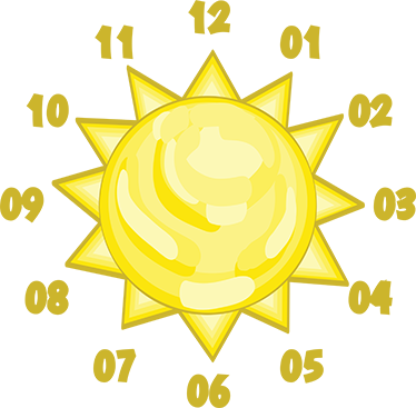 TenStickers. Kids Sun Wall Clock Stickers. Wall Clocks - Sun illustration clock. Original and distinctive, ideal for decorating the nursery, bedrooms or play areas for kids.
