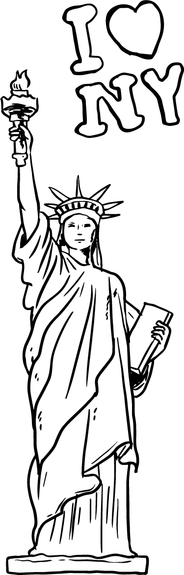 TenStickers. Statue of Liberty Outline Wall Sticker. Wall Stickers - Outline sketch of the famous New York monument the Statue of Liberty.