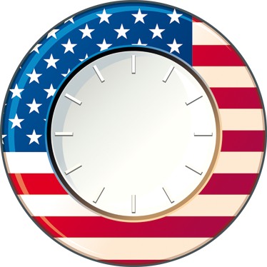 TenStickers. Wall Clock USA Sticker. Wall Clocks - United States of America wall clock. Vibrant blue and red colours with the white strips and stars of the US flag.