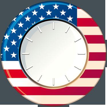 TenStickers. Sticker horloge États-Unis. Habillez vos murs de façon originale et aux couleurs des États-Unis d'Amérique grâce à ce sticker horloge. Qualité Garantie.