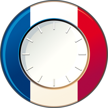 TenStickers. Sticker muurklok Frankrijk. Leuke muurklok muursticker met Franse vlag in de vorm van een muursticker frankrijk klok sticker. Muurstickers klok Frankrijk geschikt in alle maten.