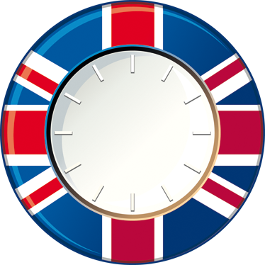 TenStickers. Great Britain Wall Clock Sticker. Wall Clocks - GB flag clock design. Original and distinctive, ideal for decorating the home. Perfect for any room in your home