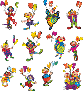 TenStickers. Clown Alphabet Wall Decal. Creative stickers of the alphabet with images of clowns. Fantastic decal to decorate your child´s room and make learning the alphabet fun!