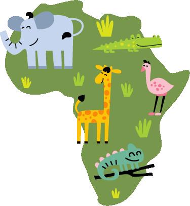 TenStickers. Afrika Karte mit Tieren Aufkleber. Dieses Wandtattoo mit der Silhouette Afrikas mit den Tieren des Kontinents in warmen Farben eignet sich auch perfekt für das Kinderzimmer.