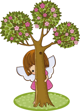 TenStickers. Autocolante decorativo infantil menina tímida. Autocolante decorativo infantil ilustrando uma menina tímida e adorável, escondida atrás de uma árvore!