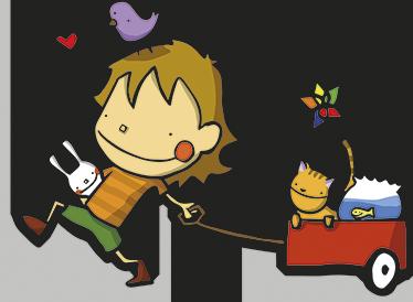 TenStickers. Sticker enfant jouets. Un enfant tout sourire promène ses peluches dans son charriot, un dessin coloré et original pour personnaliser la chambre de votre enfant.