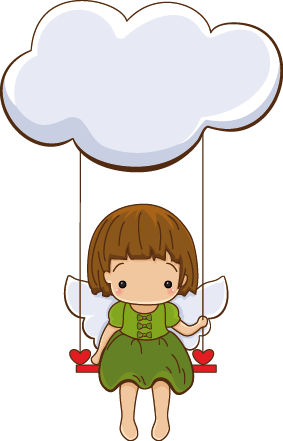 TenStickers. Cloud Little Angel Kids Sticker. A decorative angel wall art decal illustrating a little angel playing on a swing hanging from a cloud. Ideal to decorate your children's rooms.