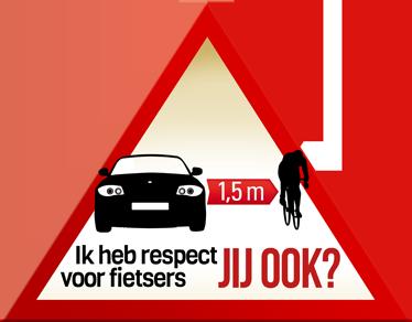 TenStickers. Sticker gevarendriehoek respect fietsers. Bevestig deze sticker op je auto om zo iedereen duidelijk te maken dat je respect hebt en uitkijkt voor fietsers.