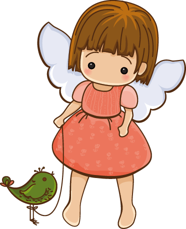 TenStickers. Little Angel with Bird Sticker. An angel wall art decal of a little angel with a friendly bird. Brilliant sticker to decorate your child´s room and fill those empty walls at home.