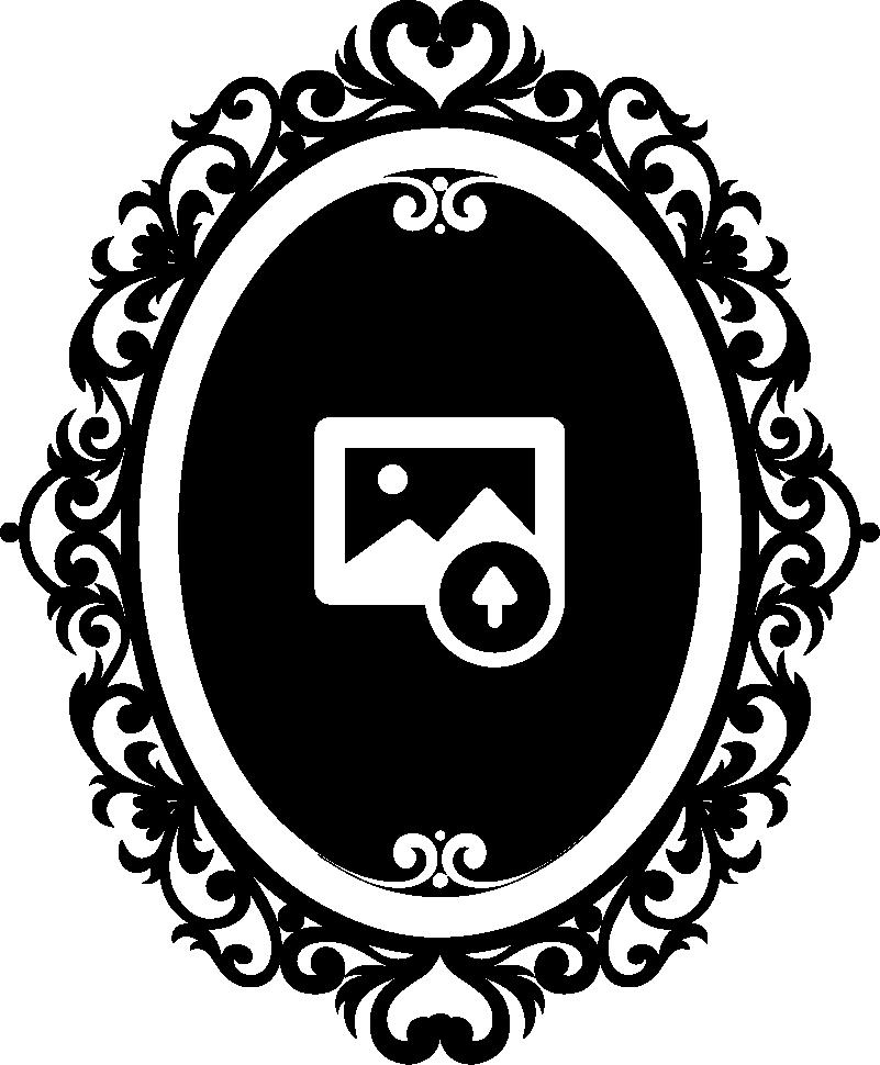 Tenstickers. Personlig portrett ramme vegg klistremerke. Personlig vegg klistremerker - selvportrett illustrasjon. En elegant og vintage design for å dekorere hjemmet ditt. Velg din foretrukne størrelse og farge, og vi vil forvandle et bilde av ansiktet til silhuettform for å sitte fast på en vegg og legge til litt klasse i hjemmet ditt.