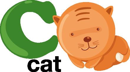 TenVinilo. Vinilo infantil letra C. Vinilo decorativo infantil de las letras del abecedario acompañadas por dibujos animados.La C con un gato de cabeza grande recostado a su lado.