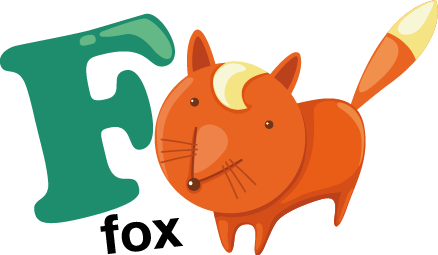 TenStickers. Kids Letter F Sticker. Decorative alphabet sticker with the letter F accompanied by a fox. Fantastic decal to decorate your child´s room.