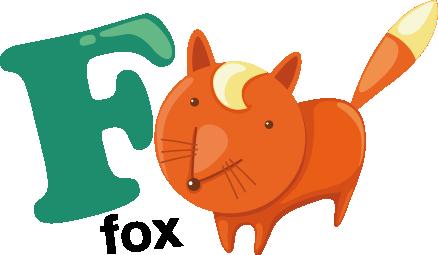 TenStickers. Sticker letter F vos. Met deze muursticker kan u uw kinderen op een spelende wijze het alfabet en het Engels leren. De F van Fox! Naast de letter F staat een vos afgebeeld.