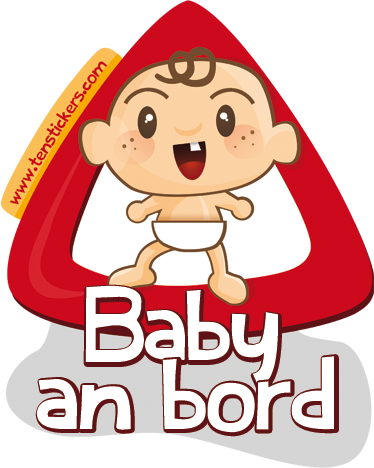 TenStickers. Baby an Bord Aufkleber. Haben Sie ein Baby in Ihrem Auto? Mit diesem lustigen Sticker können Sie auf Ihr kleines Kind hinweisen.