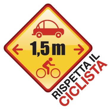 TenStickers. Sticker decorativo rispetto ciclista. Decora con questo originale adesivo e ricorda a te stesso e agli altri a quale distanza una macchina può circolare da una bicicletta.