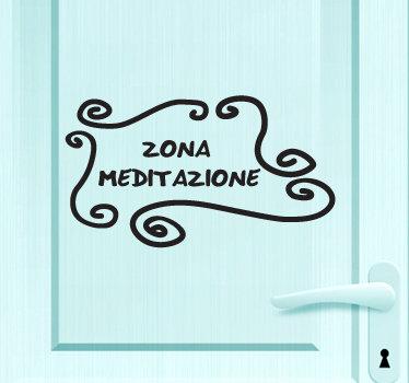 TenStickers. Sticker decorativo zona meditazione. Fai della tua camera un'oasi di calma e relax decorando la porta con questo elegante adesivo. Disponibile in dimensioni personalizzabili.