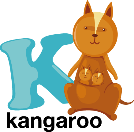 TenStickers. Kids Letter K Sticker. Decorative alphabet sticker with the letter K accompanied by a kangaroo. Fantastic animal decal to decorate your child´s room.