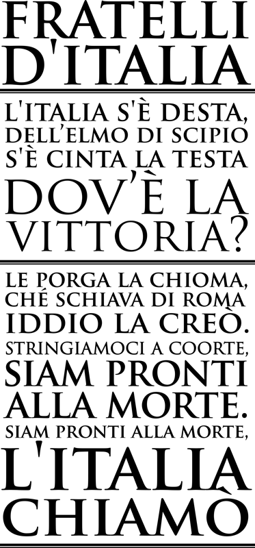 TenStickers. Stencil muro inno italiano. Originale adesivo con le strofe più celebri dell'inno nazionale. Fratelli d'Italia! Disponibile in dimensioni personalizzabili.
