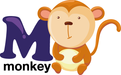 TenStickers. M for Monkey Kids Sticker. Who said learning the alphabet wasn't fun? Now you can have the time of your life with this superb monkey design from our monkey wall stickers collection. Superb alphabet wall sticker for kids!