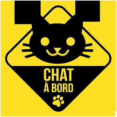 TenStickers. Sticker chat à bord. Un sticker original pour indiquer aux autres conducteurs la présense de votre animal de compagnie à bord de votre véhicule.