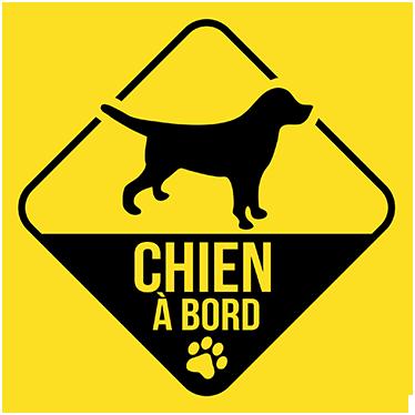 TenStickers. Sticker chien à bord couleur. Un sticker bicolore original pour indiquer aux autres usagers de la route que vous conduisez avec votre chien à bord de votre voiture.