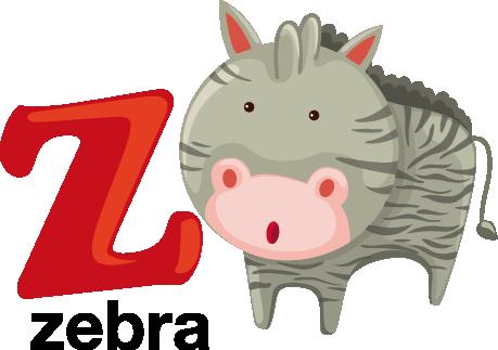 TenStickers. Sticker alfabet letter Z. Een leuke muursticker van de letter Z van Zebra! Een prachtige wandsticker om je kinderen op een spelende wijze het alfabet te leren.