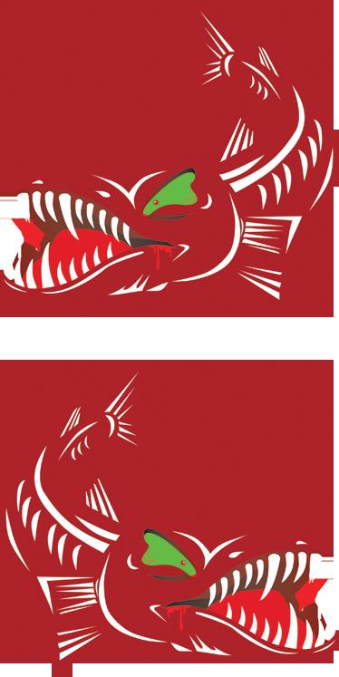 TenVinilo. Vinilo decorativo barracudas. Set de dos adhesivos con distinta orientación de dos peces diabólicos en color rojo y ojos verdes. Con una amenazante dentadura llena de afilados dientes. Ideal para decoración de embarcaciones personales.