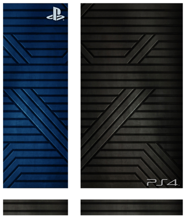 TenStickers. Metallic PS4 Skin. Customise your PlayStation 4 console and make it original and distinctive with this metallic texture PS4 skin. This black and blue PS4 sticker has a cool modern design to add something new to your PlayStation and fall in love with gaming again.