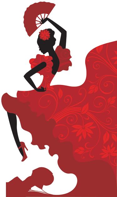 TENSTICKERS. フラメンコダンサーウォールステッカー. 赤い壁ステッカーのコレクションからのフラメンコ愛好家のためのビニールデカール!フラメンコダンサーのこのデザインでリズムと色のバースト。