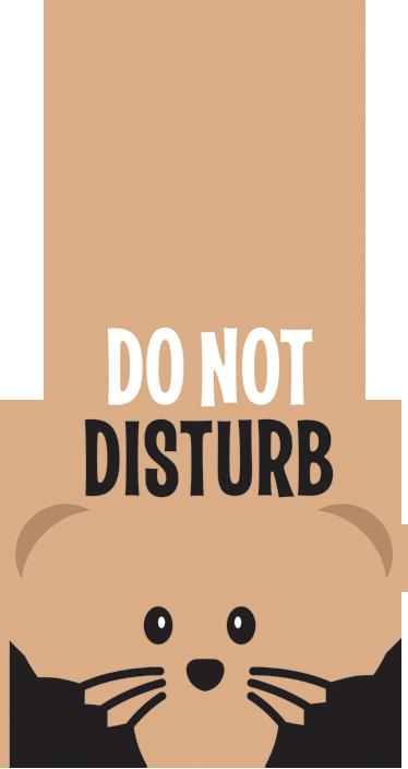 """TenStickers. Sticker Do Not Disturb. Sticker decorativo molto divertente che raffigura la sagoma di un topo con la scritta """"Do not distrub""""."""
